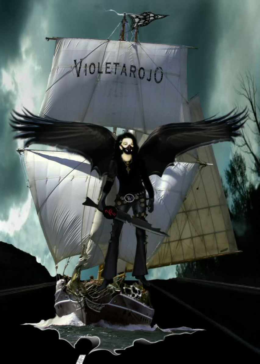 Swashbuckling Faith based Queer by Violetarojo ©Petra Maricela Thompson Violetarojo, an illustration of Violetarojo standing on the rigging of a vessel out at sea emerging from the asphalt of a highway.