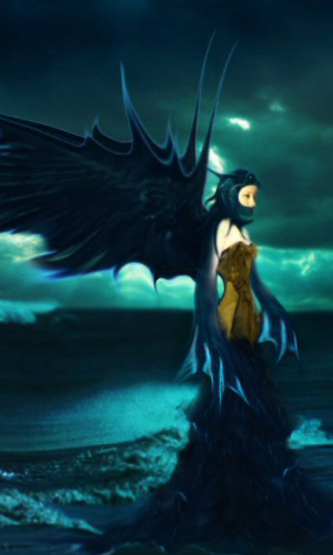 Pinokia Art Series by Violetarojo ©Petra Maricela Thompson Violetarojo, Pinokia is wearing a raven headdress in a gold corset and a feathered marine blue gown. She is walking out of the ocean to the beach. Her wings are powerful and majestic as is her pose.